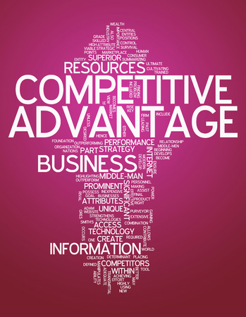 strategic advantage: Word Cloud with Competitive Advantage related tags Stock Photo