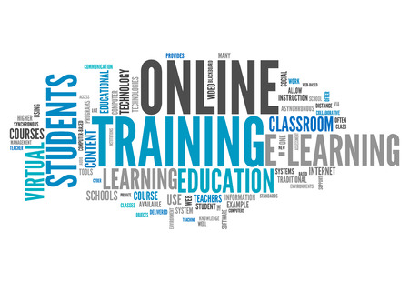 cloud based: Word Cloud with Online Training related tags Stock Photo