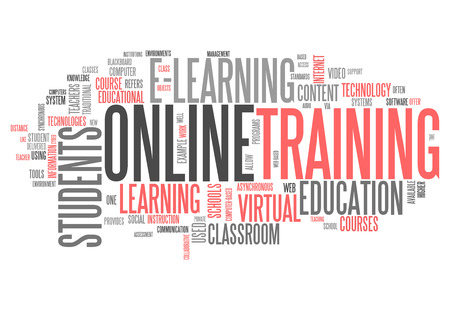 online learning: Word Cloud with Online Training related tags Stock Photo