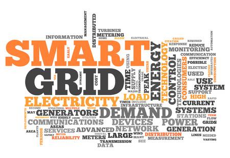 Wort-Wolke mit Smart-Grid-verwandte Tags Lizenzfreie Bilder