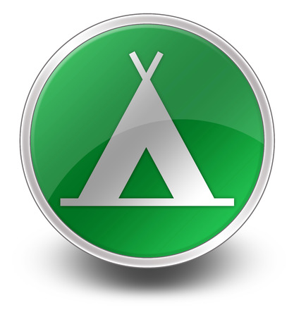 campground: Icon, Button, Pictogram with Camping symbol