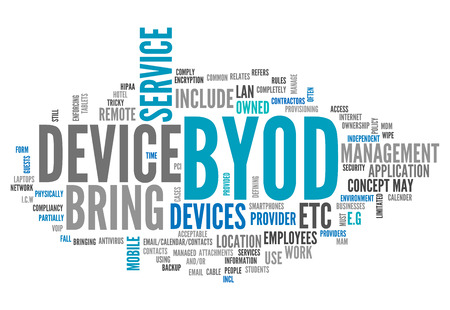 Nuage de mot avec des étiquettes BYOD liées Banque d'images - 27022530