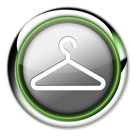 coathangers: Icon, Button, Pictogram with Coat Hanger symbol Stock Photo