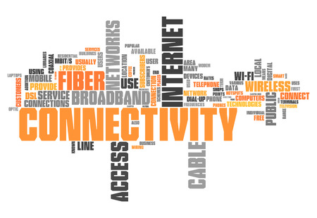 isp: Word Cloud with Connectivity related tags Stock Photo