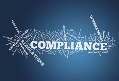 Word Cloud with Compliance related tags Stock Photo