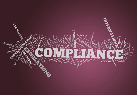 regulatory: Word Cloud with Compliance related tags Stock Photo