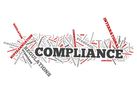 specifications: Word Cloud with Compliance related tags Stock Photo