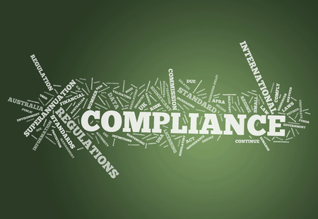 Word Cloud with Compliance related tags photo