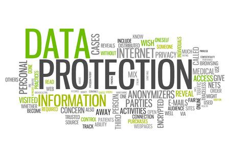 Wort-Wolke mit den Datenschutz verwandte Tags