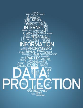 データ保護と単語の雲関連タグ