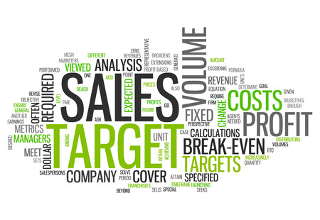 motivator: Word Cloud with Sales Target related tags Stock Photo