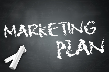 Blackboard with Marketing Plan wording