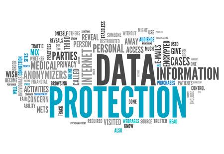 datos personales: Etiquetas nube de la palabra con la protecci�n de datos relacionados