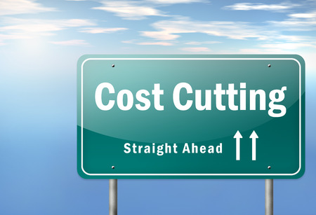 optimize: Highway Signpost with Cost Cutting wording Stock Photo
