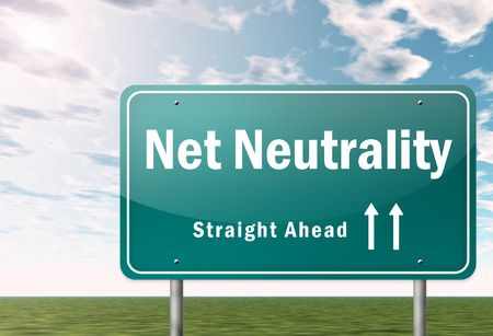neutrality: Highway Signpost with Net Neutrality wording Stock Photo