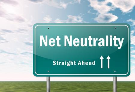 Highway Signpost with Net Neutrality wording 版權商用圖片