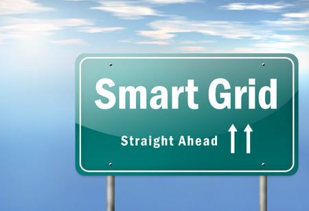 smart grid: Highway Signpost with Smart Grid wording
