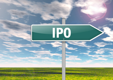 public offering: Signpost with IPO wording
