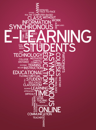 Word Cloud with E-Learning related tags photo