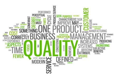 Nuage de mot avec des étiquettes liées à la qualité Banque d'images - 27070392