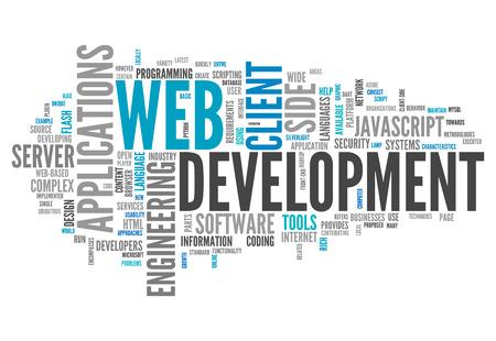 Nuage de mot avec le développement liés aux balises Web Banque d'images - 27070399