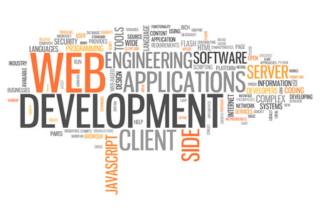 Word Cloud with Web Development related tags Фото со стока