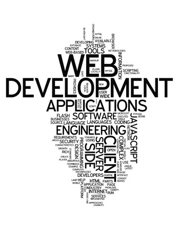 sql: Word Cloud with Web Development related tags Stock Photo