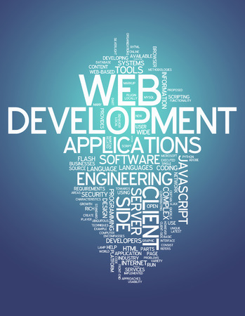 markup: Word Cloud with Web Development related tags Stock Photo