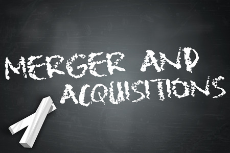 mergers: Blackboard with Merger And Acquisitions wording