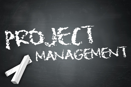 executing: Blackboard with Project Management wording Stock Photo