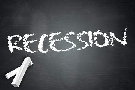 recession: Blackboard with Recession wording
