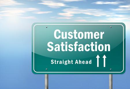 balanced scorecard: Highway Signpost with Customer Satisfaction wording Stock Photo