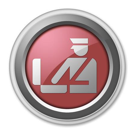 border patrol: Icon, Button, Pictogram with Customs symbol