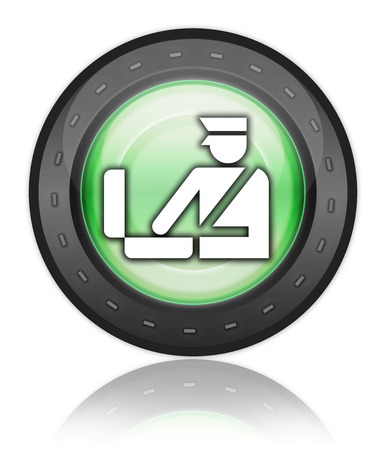 border patrol: Icon, Button, Pictogram with Customs symbol