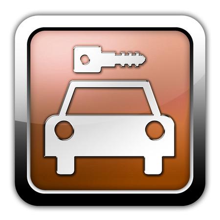 Icon, Button, Pictogram with Car Rental symbol Stock Photo - 27201080