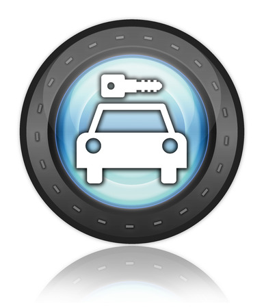 Icon, Button, Pictogram with Car Rental symbol Stock Photo - 27201091