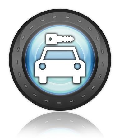 Icon, Button, Pictogram with Car Rental symbol Stock Photo - 27201091