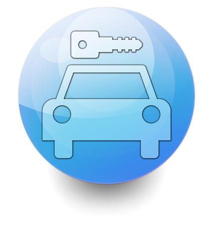 Icon, Button, Pictogram with Car Rental symbol Stock Photo - 27201121