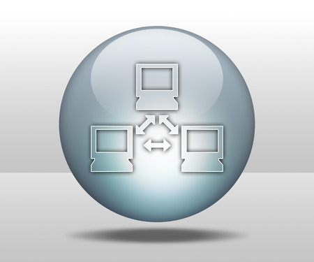networked: Icon, Button, Pictogram with Network symbol