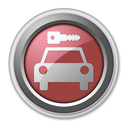Icon, Button, Pictogram with Car Rental symbol Stock Photo - 27196503