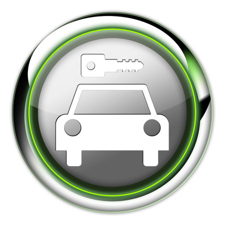Icon, Button, Pictogram with Car Rental symbol Stock Photo - 27196511