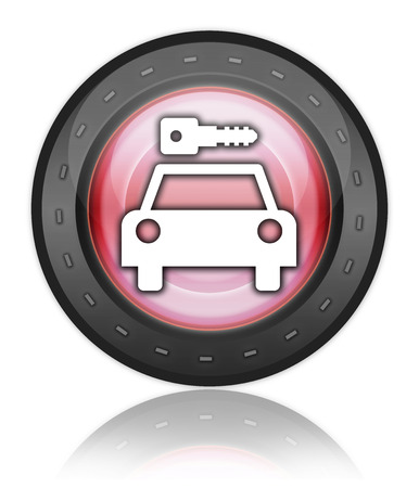Icon, Button, Pictogram with Car Rental symbol Stock Photo - 27196576