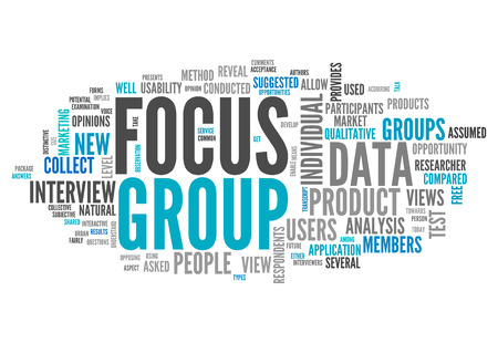 Wort-Wolke mit Focus Group verwandte Tags Lizenzfreie Bilder