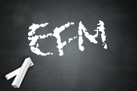 surveyed: Blackboard with EFM wording Stock Photo