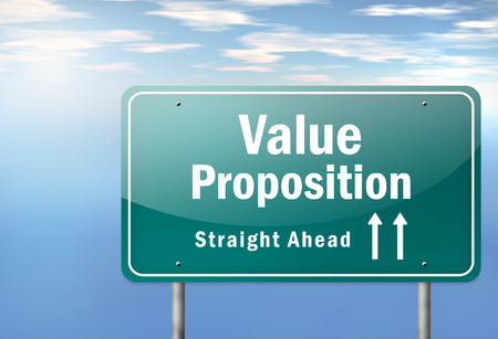 Highway Signpost with Value Proposition wording Stockfoto
