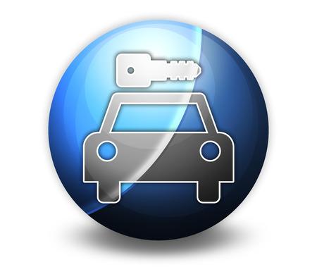 Icon, Button, Pictogram with Car Rental symbol Stock Photo - 27182547