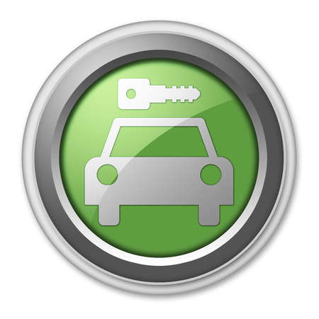Icon, Button, Pictogram with Car Rental symbol Stock Photo