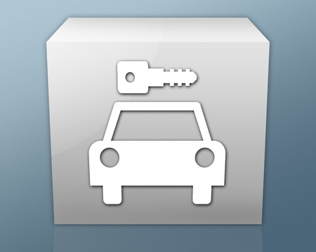 Icon, Button, Pictogram with Car Rental symbol Stock Photo - 27182634