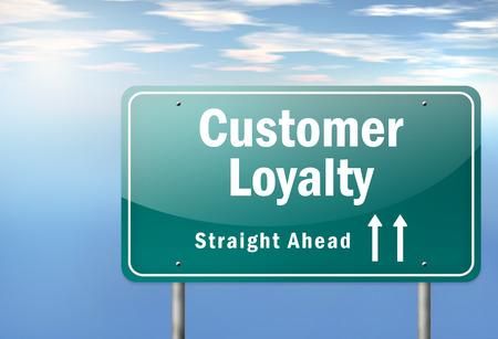 顧客の忠誠心の言葉遣いと高速道路標識 写真素材
