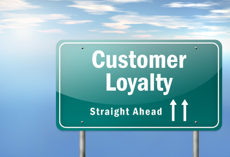 Highway Signpost with Customer Loyalty wording Foto de archivo